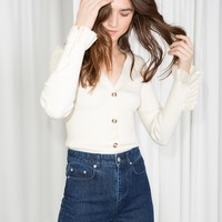 & Other Stories | Ruffle Cuff Cardigan | Off white