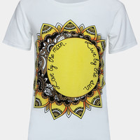 White Tribal Sun Printed Tee