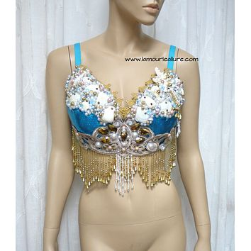 Turquoise Gold Goddess Mermaid Dance Costume Rave Bra Mermaid Halloween Burlesque Show Girl