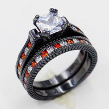 Victoria Wieck Lovers Antique jewelry Garnet Simulated Diamond 10KT Black Gold Filled Engagement Wedding band Ring Set Sz 5-11
