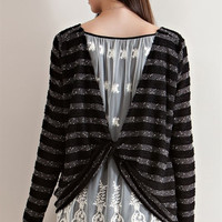 Laced Knotted Back Pullover - Black