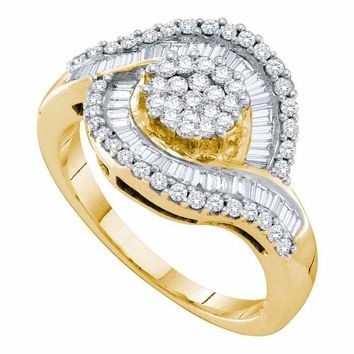 14kt Yellow Gold Women's Round Diamond Flower Cluster Baguette Concentric Ring 1.00 Cttw - FREE Shipping (USA/CAN)