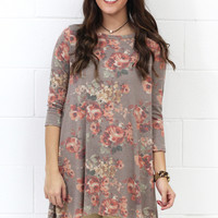 Washed Out Floral Shark Bite Tunic {Taupe Mix} EXTENDED SIZES