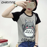 OHRYIYIE 2017 Spring Summer Cute Totoro T Shirt Women Short Sleeve T-shirts Women Graphic Tee Shirt Femme Japanese anime Tshirt