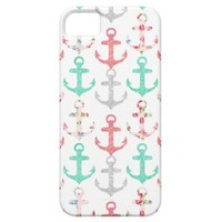 Glitter Girly Floral Nautical Anchors iPhone 5 Covers from Zazzle.com