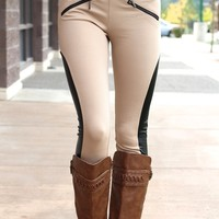 Modern Marvel Faux Leather Mesh Panel High-Waist Leggings (Taupe)