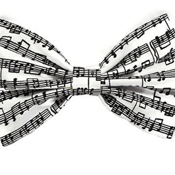 Musical Notes Print Hair Bow Clip Handmade By Sweet in the City