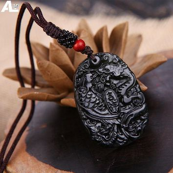 DKF4S Natural Jade Jewelry Magnetic Health Pendant Dark green Jade Dragon and Phoenix Couple Natural Jade Pendent Necklace Gift