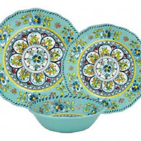 Madrid Turquoise Melamine Outdoor Dinnerware