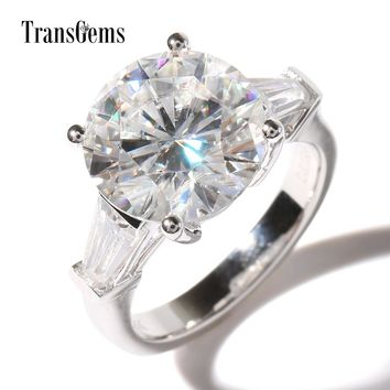 TransGems Luxury 5 Ct Carat Lab Grown Moissanite Diamond with moissanite Accents Wedding Ring Solid 14K Gold Engagement Band