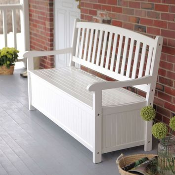 White Wood 4-Ft Outdoor Patio Garden Bench Deck Box with Storage