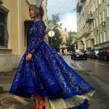 Blue Lace Long Sleeve Irregular Princess Prom Dress Dress One Piece Dress [4919471300]
