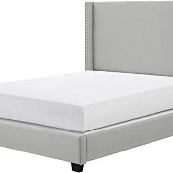 Crosley Furniture KF706006DG Casey Upholstered Platform Bed and Wingback Headboard, King, Dove Gray Linen