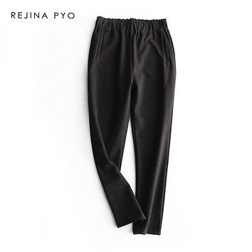 REJINAPYO Women Solid Simple High Waist Wool Blends Casual Ankle-Length Pant Female Warm Fashion Pencil Trouser Pockets