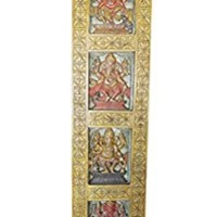Wall Hanging Vintage Hand Carved Ganapati Four Posture, Living room Bohemian Decor