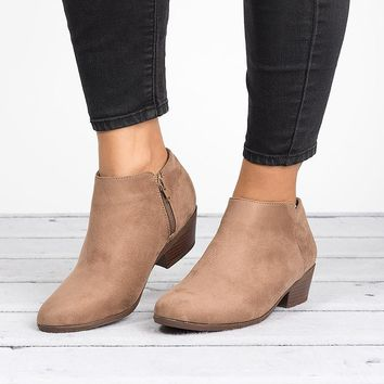 Zipper Ankle Booties - Natural
