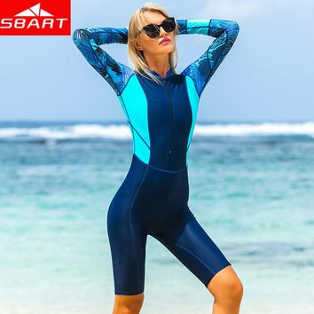 SBART Women Wetsuit Zipper One Piece Swimsuit Long sleeve Rashguard Diving suit for Swimming Surfing Diving Swimsuit Wetsuits