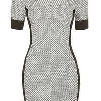 Geometric Panel Bodycon Dress - Grey