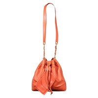 CHANEL Orange Caviar Leather BUCKET Shoulder Bag w/ TRIPLE CC Logo