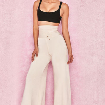 Clothing : Leggings : 'Caryss' Ivory Bandage Super Wide Trousers