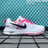 HCXX N181 OFF-White x Nike Air zoom Structure 21 Flyknit Breathable Running Shoes White Pink