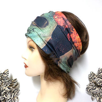 Green & Orange Headwrap, Yoga Headband, Wide Headband, Running Headband, Workout Headband, Turban Headband, boho, scarf, wrap
