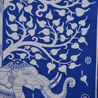 Blue Elephant Tapestry, Tree of Life Wall Art, Queen Bedding, Indian Tapestry Wall Hanging, Cotton Bedspread, Bohemian Tapestries