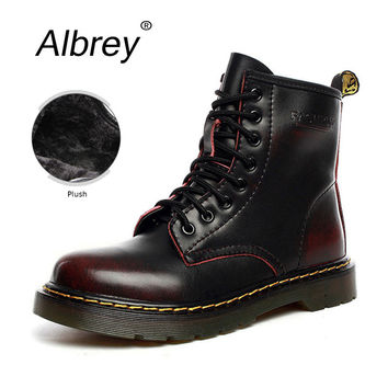 Plus Size Dr 2016 Genuine Leather Boots Winter Ankle Men Boots Motorcycle Boots Platform Snow Martens Work Women Boots