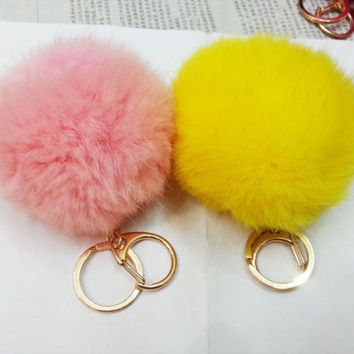 Fashion genuine rabbit fur ball handbag key cell pendant = 1932250372
