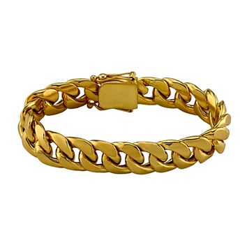14K Solid Yellow Gold Cuban Curb Miami Link Bracelet