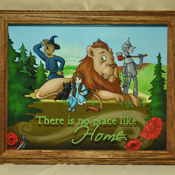 Wizard of Oz, There is No Place like Home, The Wonderful Wizard of Oz, Dorothy, Toto, Scarecrow, Tinman, Cowardly Lion 8x10 Hanging Wall Art