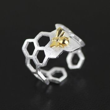 Fashion Gold Bee 925 Sterling Silver Adjustable Honeycomb Ring