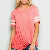 Vintage Style Side Knot Top - Coral