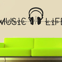 Wall Decal Vinyl Sticker Decals Art Decor Design Sign Music is Life Notes Headphones Pulse Guitar Music House Dorm Office Bedroom (r1013)