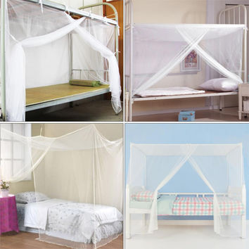1pc New White Four Corner Post Student Canopy Bed Mosquito Net netting Twin Queen King size
