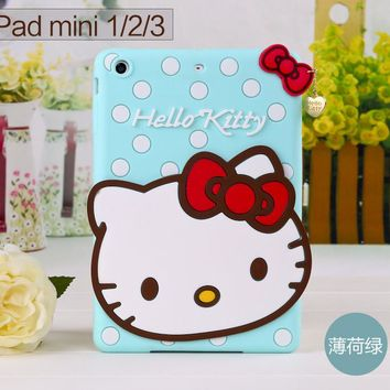 Free Shipping New 3D Cute Hello kitty Soft silicone Rubber Cases Cover For Apple ipad mini 1 2 3 Case For Ipad mini