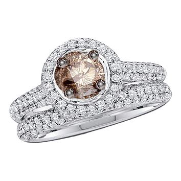 14kt White Gold Women's Round Brown Color Enhanced Diamond Bridal Wedding Engagement Ring Band Set 1-1/4 Cttw - FREE Shipping (US/CAN)