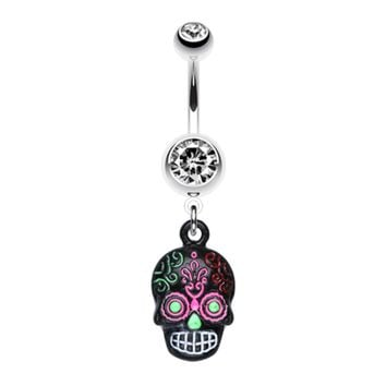 Vibrant Mayan Tribal Skull Belly Button Ring