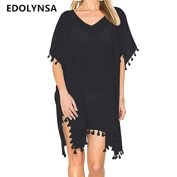 Beach Dress Sexy Cover-Up Chiffon Bikini Kaftan Pareo Sarongs Swimwear Tunic Swimsuit Bathing Suit Cover Ups Robe De Plage #Q214