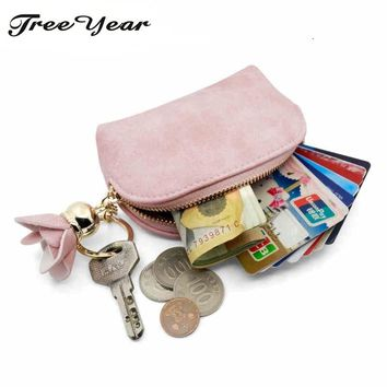 2017 New Fashion Envelope Women Mini Wallets Female Tassel Pendant With Flower Small Lady Zipper Coin Coin Purse Card Holder