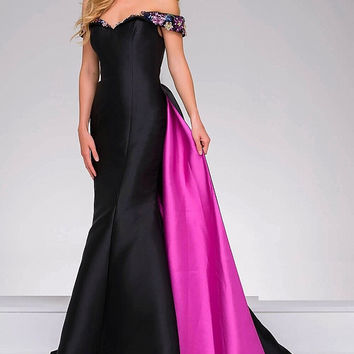 Black Multi off the Shoulder Taffeta Jovani Dress 48747
