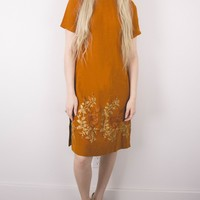 Vintage 60s Burnt Orange Mini Shift Dress