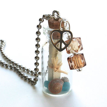 Message in a Bottle Necklace- Mini Glass Bottle with Tied Scroll, Peace Heart Charm, Sea Glass and Shells