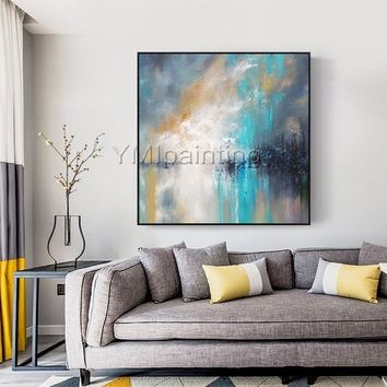 Modern abstract Painting on canvas Original texture acrylic Blue and white painting wall pictures home decor cuadros abstractos hand painted