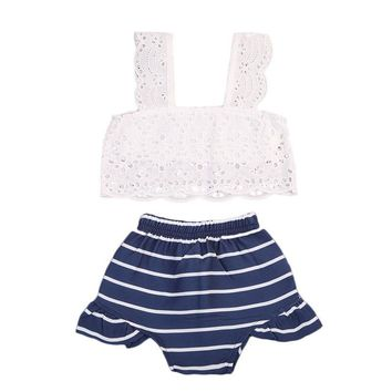 White Lace Tops+Striped Baby Bloomers Short 2PCS