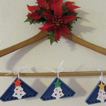 Christmas Tree Ornaments - Set of 3 - Triangle Ceramic Tiles With White Foam Decorated Christmas Trees