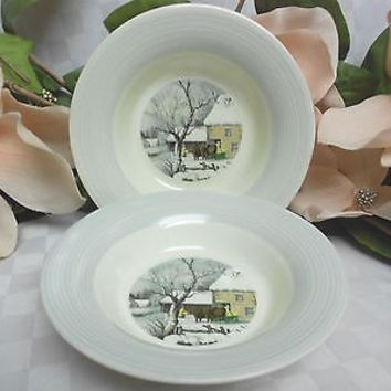 American Limoges, China Dinnerware New Yorker Currier & Ives Gray 4 fruit bowl