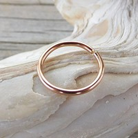 14K Solid Rose Gold Septum Ring,Nose Ring,Daith Piercing Ring,Cartilage,Helix,Tragus,Ear Hoop Earring