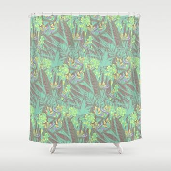 Tropical Paradise: Jade Jungle Shower Curtain by Ben Geiger