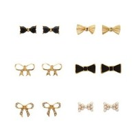 Gold Mixed Bow Stud Earrings - 6 Pack by Charlotte Russe